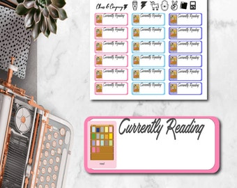 Currently Reading Kindle / E-reader Planner Stickers - Tracker. Happy Planner & Erin Condren