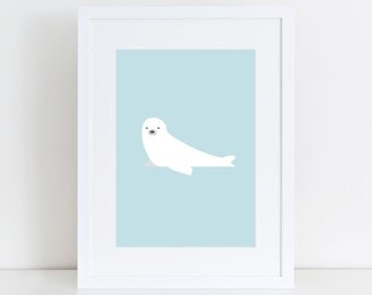 Baby Seal Print, Nursery Wall Print, Wall Art Print, Kids Print, Nursery Art, Baby Seal art, Baby Blue Print, Children Art, Arctic Animals