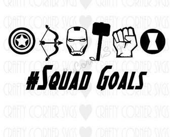 Superheros-Squad Goals SVG-Iron Man-Thor-Hulk-Avengers-funny-Boys shirt-SVG-Cricut-Silhouette-Cut Design-printable-iron on-digital design