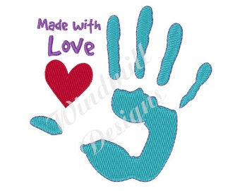 Made With Love Handprint - Machine Embroidery Design