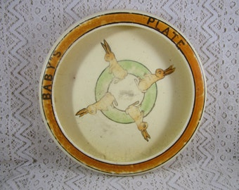 Roseville Baby Plate, Bunnies, 1910-1920