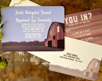 Country Landscape with Rustic Barn- 5 x 7 Wedding Invitation with A7 envelope & RSVP Postcard - BP1