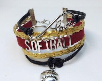 Gold Softball, Softball, Softball Player, Girls Softball, Softball Team, Softball Bracelet, Softball Valentines, Maroon Softball, Team Gift