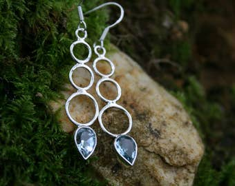 Blue Quartz and Silver Circle Drop Earrings