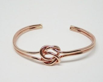 Rose Gold Love Knot, Double Knot Bracelet, Bridesmaid Proposal Gift, Bridesmaid Gift, Tie the Knot Bracelet, Cuff Bracelet, Love Knot Bangle