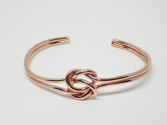 Rose Gold Love Knot Double Knot Bracelet Bridesmaid Proposal