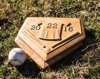 Custom carved wood home plate address plaque, baseball jersey