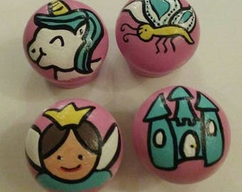 Hand painted wooden drawer knob