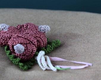 Vintage Crochet Corsage Brooch, handmade