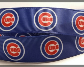 Chicago Cubs Inspired Sports Professional Basketball Team Grosgrain 7/8""