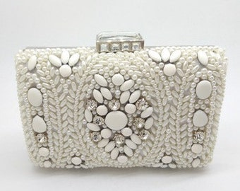 Pearl & Crystal Square Bridal Clutch BA5009i