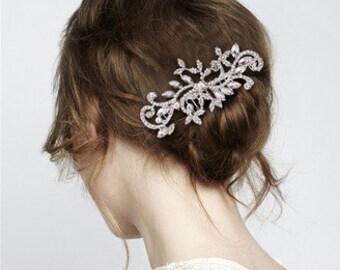 Austrian Crystal Scroll & Leaf Bridal Hair Comb BH1043i