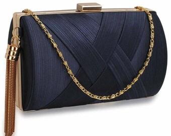 Navy & Gold Tassel Clutch Bag BAG40