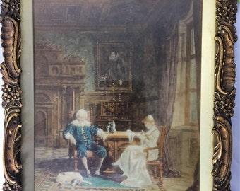 Beautiful Austrian Late 19th Century Antique Schweninger Tinted & Gouache Print