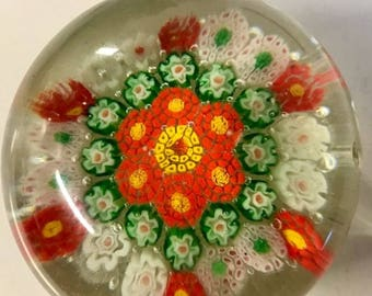 Beautiful Antique Vintage Small 1930s Chinese Close Concentric Flower Glass Millefiori Paperweight