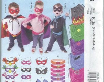 McCalls 6626, Children, Boys, Girls, Super Hero, Sewing Pattern, Costume Pattern, Cape, Belt, Cuffs, Masks, Costumes, Sizes XS-S-M-L