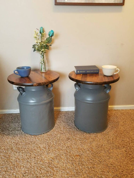 Vintage milk can end tables set of 2 repurposed furniture for Repurposed milk cans