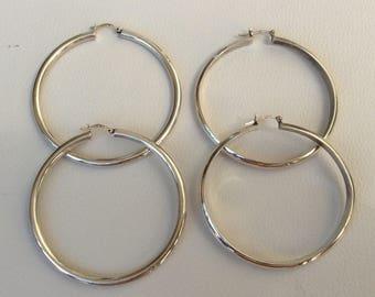 Two Vintage Pairs of 925 Silver Large Hoop Earrings.