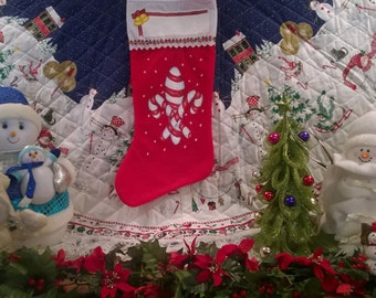 Hand Painted Christmas Stocking // Large // New Orleans Fleur De Lis Candy Cane //Secret Santa // Grandma Gift // FREE SHIPPING