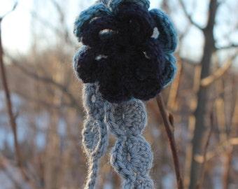 Double Flower Headband/Crochet/Scalloped/Blue/Grey/Accessory