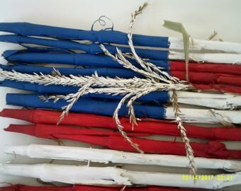 4th of July American flag decoration wall hanging made of cornstalks,