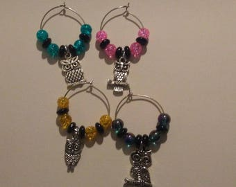 Beautiful Glass Beaded Wine Glass Stem Charms Set of 4 Owl Themed