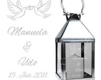 Petite lanterne avec gravure - mariage thème - personnalisé avec le nom et la Date - Lanterne en acier inoxydable