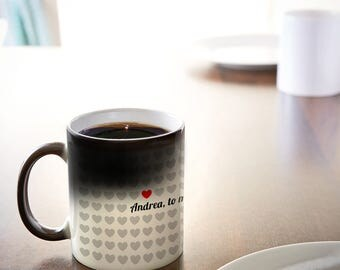 Colour Changing Mug - Personalised Coffee Mug with Name - To Me You Are Unique - 1000 Hearts - Black and White - Christmas Gift