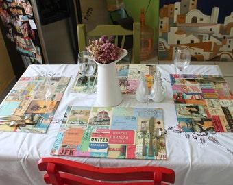 Vintage Art Decoupage Placemats / Manteles Vintage.