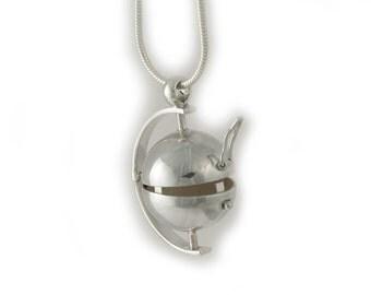 Sterling Ball Locket Box Globe and chain