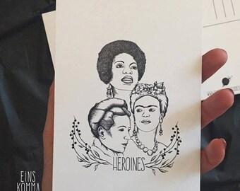 """Postcard """"Heroines"""" * Frida Kahlo * Nina Simone * Simone de Beauvoir *."""