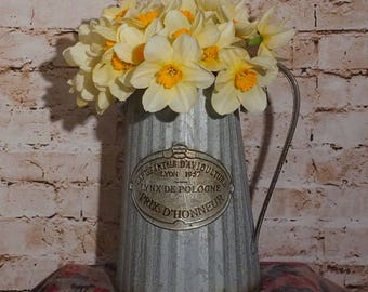 Large Galvanised Metal Jug Ideal for Displays or as a Vase