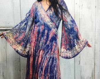Vintage Batik Maxi Dress//Vintage Wrap Dress// Cosmic 1970s Dress// Tie Dye Hippie Dress