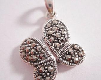Sterling Silver Pendant // Marcasite // Butterfly // Butterflies // Marcasites // 925 // Pendant // Jewelry // Vintage // SALE // #1065