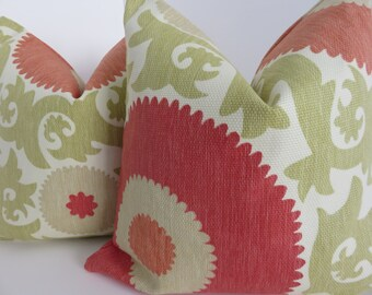Green Cream Suzani pillow Cover, Suzani Pillow Cover, Coral Pillow Cover, Suzani Red Orange Pillow, Pillow Cover, Suzani Pillow,Green Pillow
