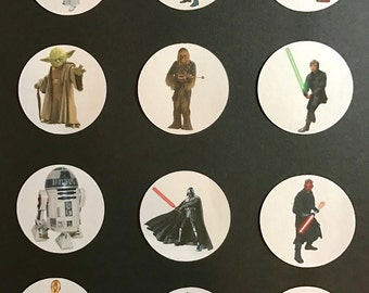 Precut Edible Star Wars Characters to decorate your cupcakes, cookies or cake with.