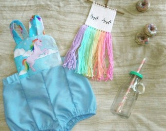 Rainbow blue skies white fluffy clouds unicorn playsuit onesie romper size 00 3-6 months baby girl party cake smash outfit or everyday