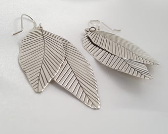 Leaves Earring Hooks Sterling Silver. Gift idea for Her. Silver Earrings