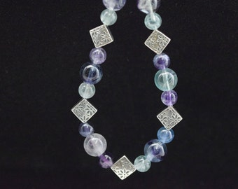 Bracelet beads colorful Fluorite and silver