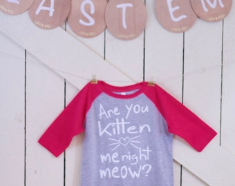 Are you Kitten me right meow baseball t shirt toddler