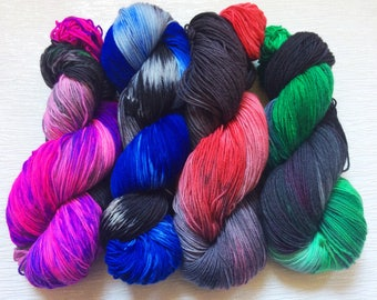 Neon Yarn - Hand Dyed Yarn - Indie Dyed Yarn - Geek Yarn - Nerd Yarn - Red Wool Yarn - Green Wool Yarn - Blue Wool Yarn - Lightsaber