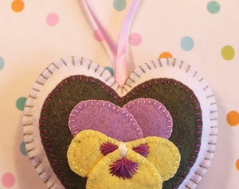 Pansy Hanging Heart Ornament