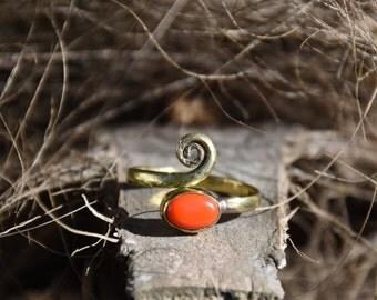 adjustable brass toe ring middle finger coral bague de pied bague d'orteil corail laiton ajustable dreadlocks
