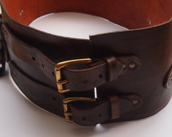 "Gun belt ""sereien"" 1 3.5 mm real leather LARP, 14 cm wide."