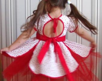 Flower Dress•Polka Dot Girl Dress•Summer Dress•Butterfly Dress•Twirl Dress•Birthday Dress•Open Back Dress•Dress Short Sleeve•Skirt Tulle