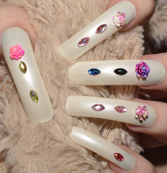 White Decorated Nails Extra Long Nails Fake Nails Full