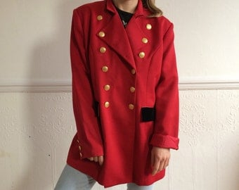 Red military jacket | Etsy
