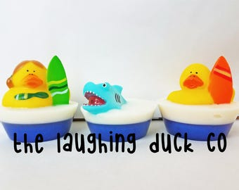 Surfer n' Shark Soap, Rubber Ducky Soap, Coconut Paradise, Shea Butter & Glycerin Soap, Rubber Duck, Toddler Gift Idea, Toy, Beach, Easter