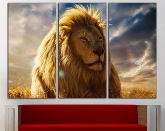 Lion canvas Lion  wall decor Lion wall art Lion print Animal Canvas Wall Art Large  Print Decor