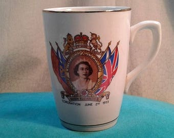 Vintage Queen Elizabeth II Commemorative Coronation mug June 2nd 1953